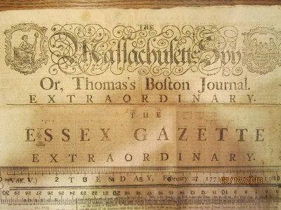 Overlaid Mastheads of the Massachusetts Spy and Essex Gazette