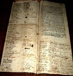 Westford's 1774 Solemn League and Covenant  (Courtesy J.V. Fletcher Library, photo by D. Lacroix)