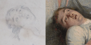 Sketch and Final Painted versions of the dying Joseph Warren