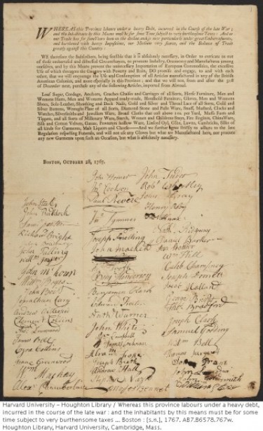 Joseph Warren's name appears with dozens of women and hundreds of Bostonians on a newly found 1767 boycott document