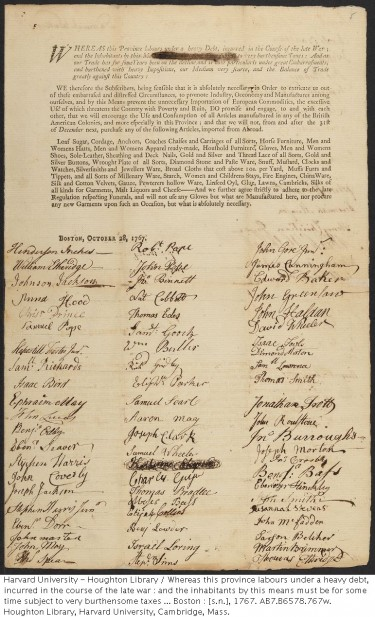 Post image for Signers of 1767 Non-Consumption Subscription  –  Last 4 of 8 Pages