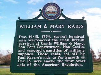 The Portsmouth Alarm of December 1774 preceded the outbreak of the Revolutionary War