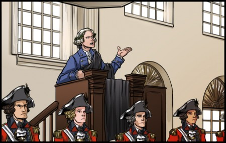 Under threat of arrest or assasination Joseph Warren delivers the memorable 1775 Boston Massacre Oratioon in a toga. Image by Lora Innes