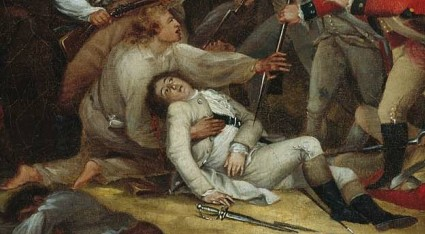 Vignette of the dying Joseph Warren in Trumbull's iconic Battle of Bunker Hill