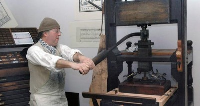 Recreation of the 18c Boston Gazette print shop