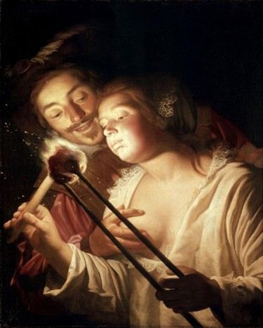 Girl Blowing Coal by van Honthorst