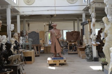 Sculptor Robert Schure's mold for Joseph Warren statue awaits casting at Skylight Studios