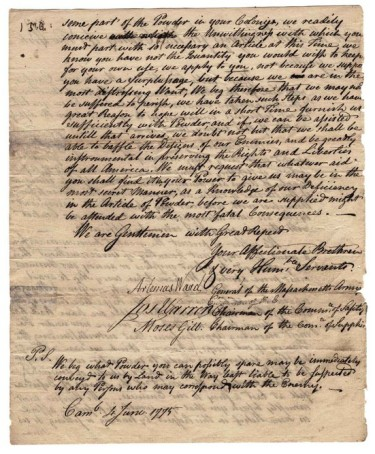 Joseph Warren, Artemus Ward, and Moses Gill appeal for gunpowder